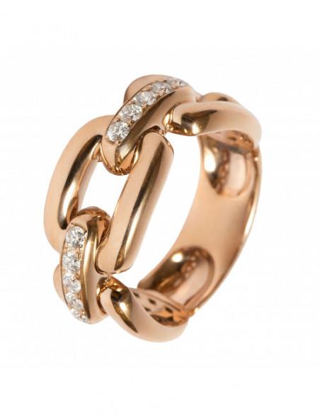 Anillo cadena oro rosa...