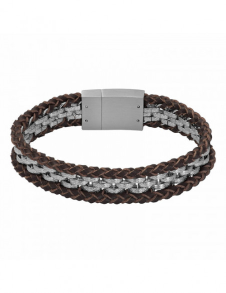 PULSERA LEATHER GEORGE_ACERO